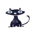 Retro cartoon black cat Stock Images