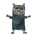 Retro cartoon black cat costume Royalty Free Stock Images