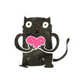 Retro cartoon black cat with love heart illustration on plain white background Stock Image