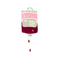 Retro cartoon blood bag illustration on plain white background Royalty Free Stock Photo