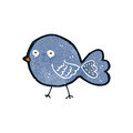 Retro cartoon bluebird illustration on plain white background Stock Photo