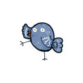 Retro cartoon bluebird illustration on plain white background Royalty Free Stock Image