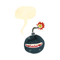 Retro cartoon bomb character with speech bubble Royalty Free Stock Photo