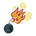Retro cartoon bomb symbol with burning fuse Stock Images