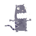 Retro cartoon burping cat illustration on plain white background Royalty Free Stock Photo