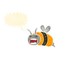 Retro cartoon buzzing bee Royalty Free Stock Photo