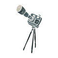 retro cartoon camera on tripod