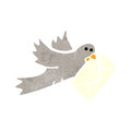 Retro cartoon carrier pigeon Stock Image