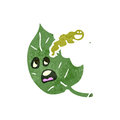 Retro cartoon caterpillar eating leaf Royalty Free Stock Photos