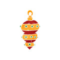 Retro cartoon christmas bauble Royalty Free Stock Image