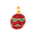 Retro cartoon christmas bauble Stock Image