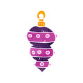 Retro cartoon christmas bauble illustration on plain white background Royalty Free Stock Photography