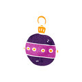 Retro cartoon christmas bauble illustration on plain white background Stock Photo
