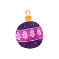 Retro cartoon christmas bauble illustration on plain white background Stock Image
