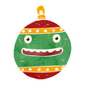 Retro cartoon christmas bauble illustration on plain white background Royalty Free Stock Photos