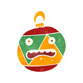 Retro cartoon christmas bauble illustration on plain white background Stock Photos