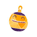 Retro cartoon christmas bauble illustration on plain white background Royalty Free Stock Images