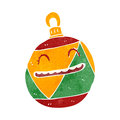 Retro cartoon christmas bauble illustration on plain white background Stock Photography