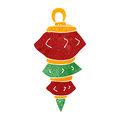 Retro cartoon christmas bauble illustration on plain white background Stock Images