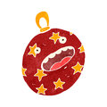 Retro cartoon christmas bauble illustration on plain white background Royalty Free Stock Image