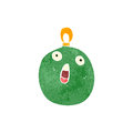 Retro cartoon christmas bauble illustration on plain white background Royalty Free Stock Photo
