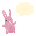 Retro cartoon cute pink rabbit Stock Images