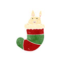 Retro cartoon cute rabbit in christmas stocking illustration on plain white background Stock Photography