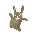 Retro cartoon cute rabbit illustration on plain white background Stock Photo