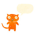 Retro cartoon cute staring cat with speech bubble Royalty Free Stock Photo