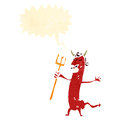 Retro cartoon devil with pitch fork Stock Photo