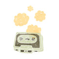 Retro cartoon dusty old cassette tape Stock Images