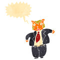 Retro cartoon fat cat boss Stock Images