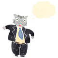 Retro cartoon fat cat businessman Stock Photo