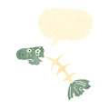 Retro cartoon fish bones Royalty Free Stock Images