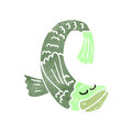 Retro cartoon fish illustration on plain white background Stock Photography