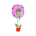 Retro cartoon flower character illustration on plain white background Royalty Free Stock Image
