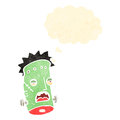 Retro cartoon frankenstein monster head Stock Photography