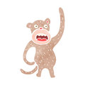 Retro cartoon funny monkey illustration on plain white background Stock Images