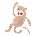 Retro cartoon funny monkey illustration on plain white background Stock Photo