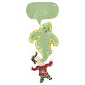 Retro cartoon ghost escaping man Stock Photo