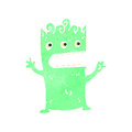 Retro cartoon green alien illustration on plain white background Stock Photo