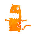 Retro cartoon gross cat with texture isolated on white Royalty Free Stock Photos
