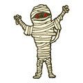 Retro cartoon halloween mummy Stock Images