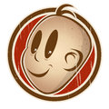 Retro cartoon head on a badge is smiling illustration of Royalty Free Stock Image