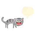 Retro cartoon hissing cat Stock Image