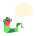Retro cartoon hissing snake with thought bubble Royalty Free Stock Photos