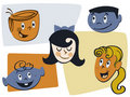 Retro Cartoon Kid Faces Royalty Free Stock Photography