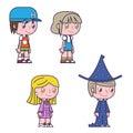 Retro cartoon kids children boys and girls icons vector illustration Stock Images