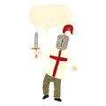 Retro cartoon knight with english cross Royalty Free Stock Photo