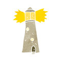 retro cartoon lighthouse Royalty Free Stock Photo